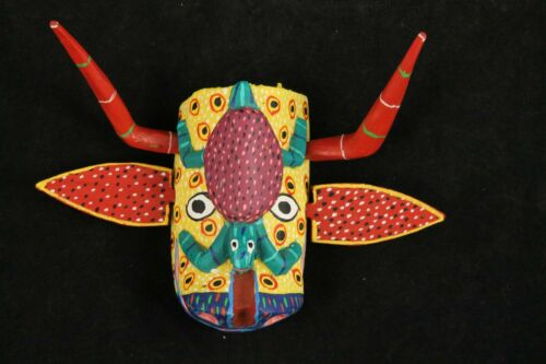 Small Wood Hanging Mask Mexican Folk Art Décor Collectible Removable Horns #4