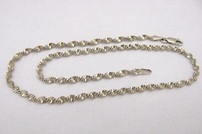 Italy 925 Sterling Silver Twisted Herringbone Chain Necklace 16.5