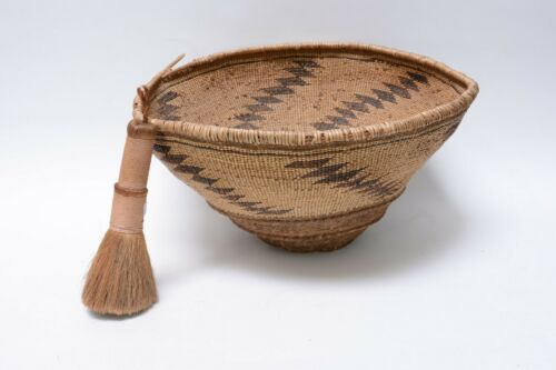 """Rare Pit River Indian Basket Hopper and Brush 9 1/2""""h x 19"""""""" x 16 1/2"""" c. 1890"""