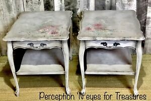 Beautiful hand painted French provincial end tables/side tables