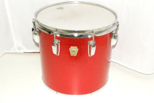 """Vintage Ludwig 13"""" Red Sparkle Tom Drum with Large Chicago Badge"""