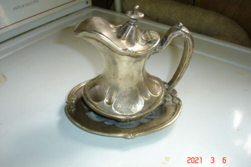Vintage Metal Reed & Barton Silver Soldered Lidded Creamer With Attached Saucer