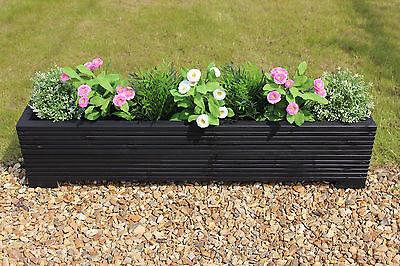 Black 100x22x23 (cm) Wooden Garden Trough Planter or Plant Pots