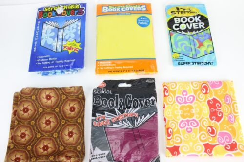 LOT x7 Stretchable Book Cover Pattern Color Pink Blue Green Orange Brown Stretch