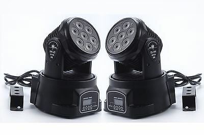 2Pcs 7X10W RGBW 4 in 1 LED Mini Moving Head DJ Disco Stage Party Effect Light