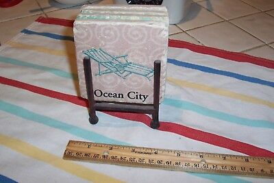 Four Coaster  Themed Ocean City Table Set with Metal Decorative Stand - City Themed Decorations