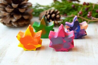 Preschool Fall Crafts (Handmade crayons Fall leaves Set of 4 Kids party favors recycled preschool)