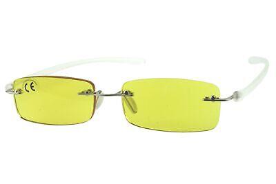 Lesebrillen Damen Herren gelb, rahmenlos, getönte Gläser leicht, modern eckig