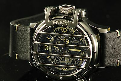 Invicta 20260 Men's Vintage Black Leather Band Swiss Quartz Analog Watch