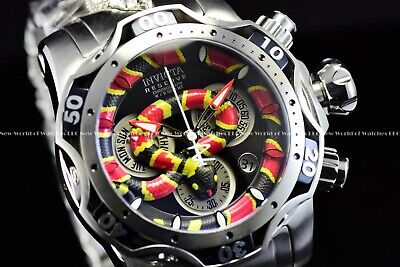 Invicta Men's 52mm Reserve King Venom Coral Snake Swiss Chrono Silver SS Watch