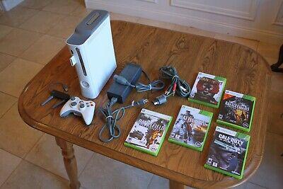Microsoft Xbox 360 White Console 60 GB, 512 MB, Wireless Adapter, 5 Games, etc. for sale  Farmington