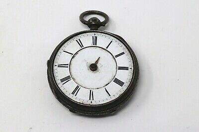 Ladies Antique Victorian 1884 Fusee Sterling Silver Key Wind Fob Pocket Watch AF