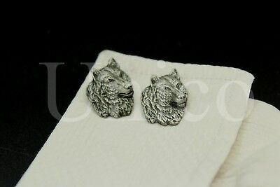 - Custom Made New Cufflinks Wolf Head Gray Dark Side  Men Fashion Shirt French USA