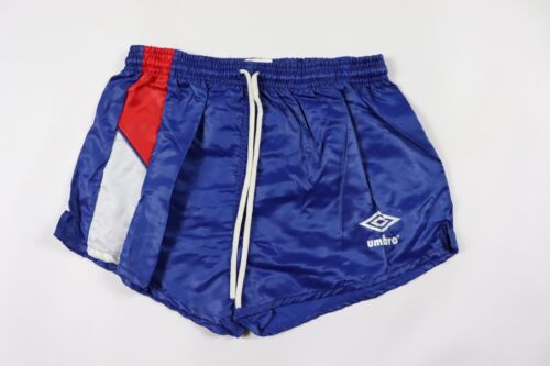 Vtg 80s New Umbro Youth Large Spell Out Shiny Nylon Soccer Shorts Blue Striped