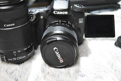 Canon EOS 70D 20.2MP DSLR Camera Kit w/2 lens BUNDLEOF