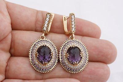 Turkish Hurrem Jewelry Small Oval Amethyst Topaz 925 Sterling Silver Earrings