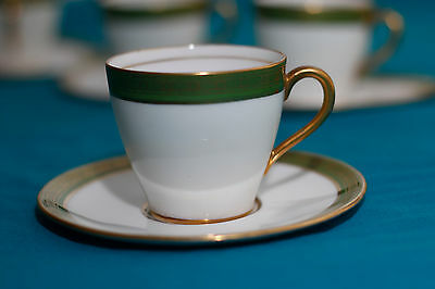 """Old-time! ART DECO 30's ROYAL DOULTON ENGLAND GREEN FOUR COFFE CUPS -1920""""s"""