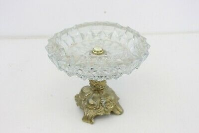 Vintage Glass Brass Pedestal Ashtray Table Candy Dish Stand Compote M78
