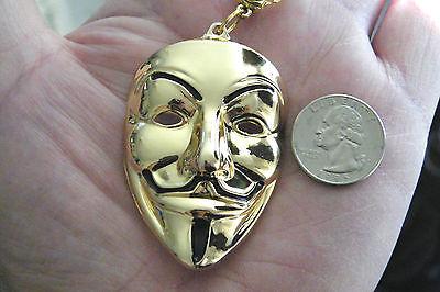 Vendetta Mask Necklace GOLD Tone Drama Gift! V Face Mask Pendant 24