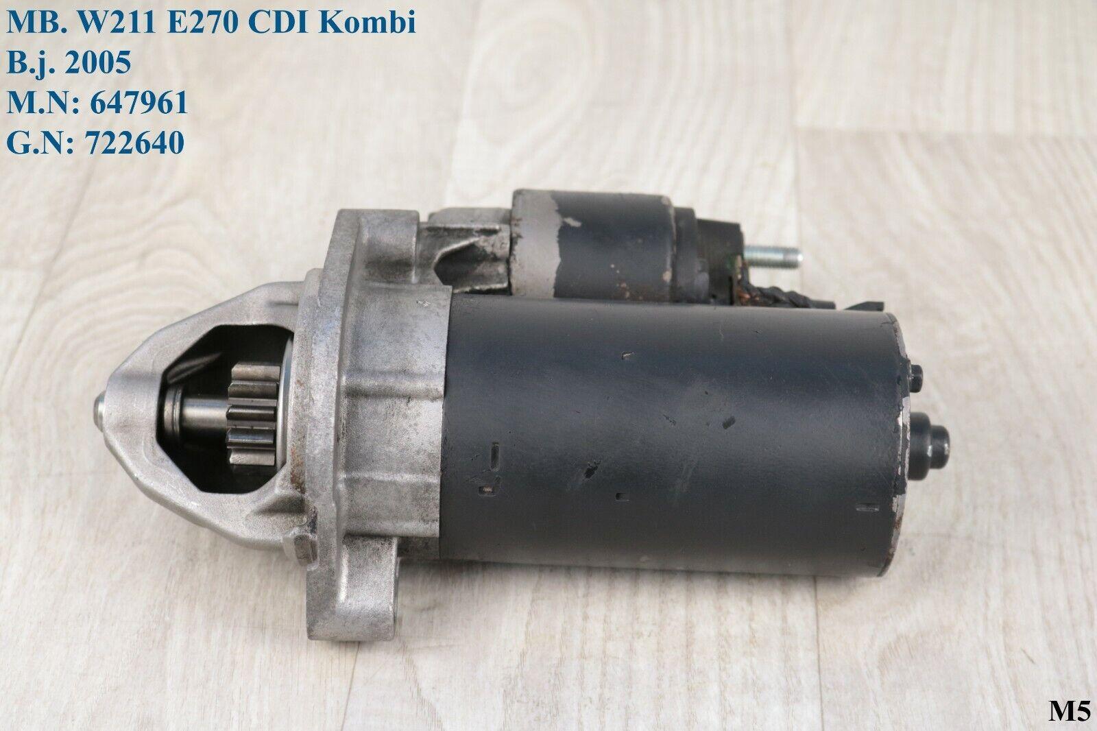 Anlasser Mercedes W 211 E 270 CDI Starter 0986XA7586 Bosch 0986017260 M 647961