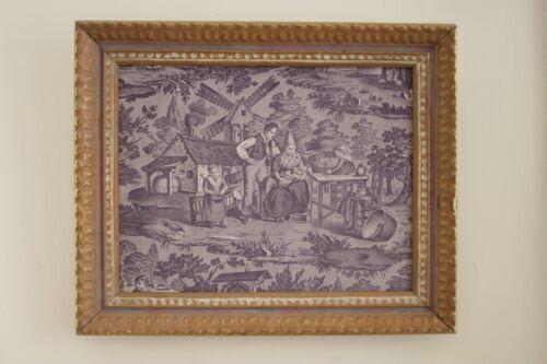 Antique French framed Toile de Normandy fabric Purple 1820 art Swiss Folk dress