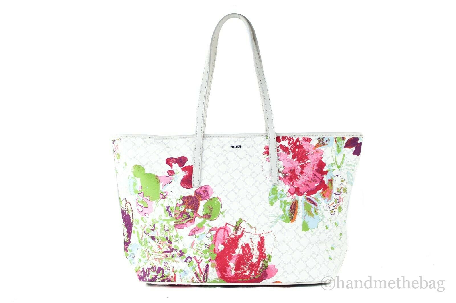 Tumi Everyday Large Coated Canvas Leather Shoulder Tote Bag Carryall Handbag White Floral