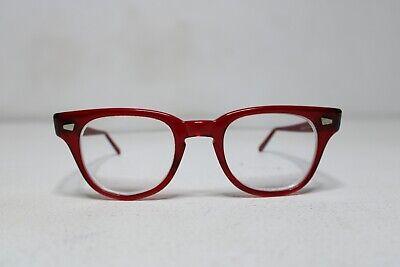 Vintage Safety Horn Rimmed Plastic Frame Eye Glasses Made in USA - Red - Sz. (Red Rimmed Glasses)