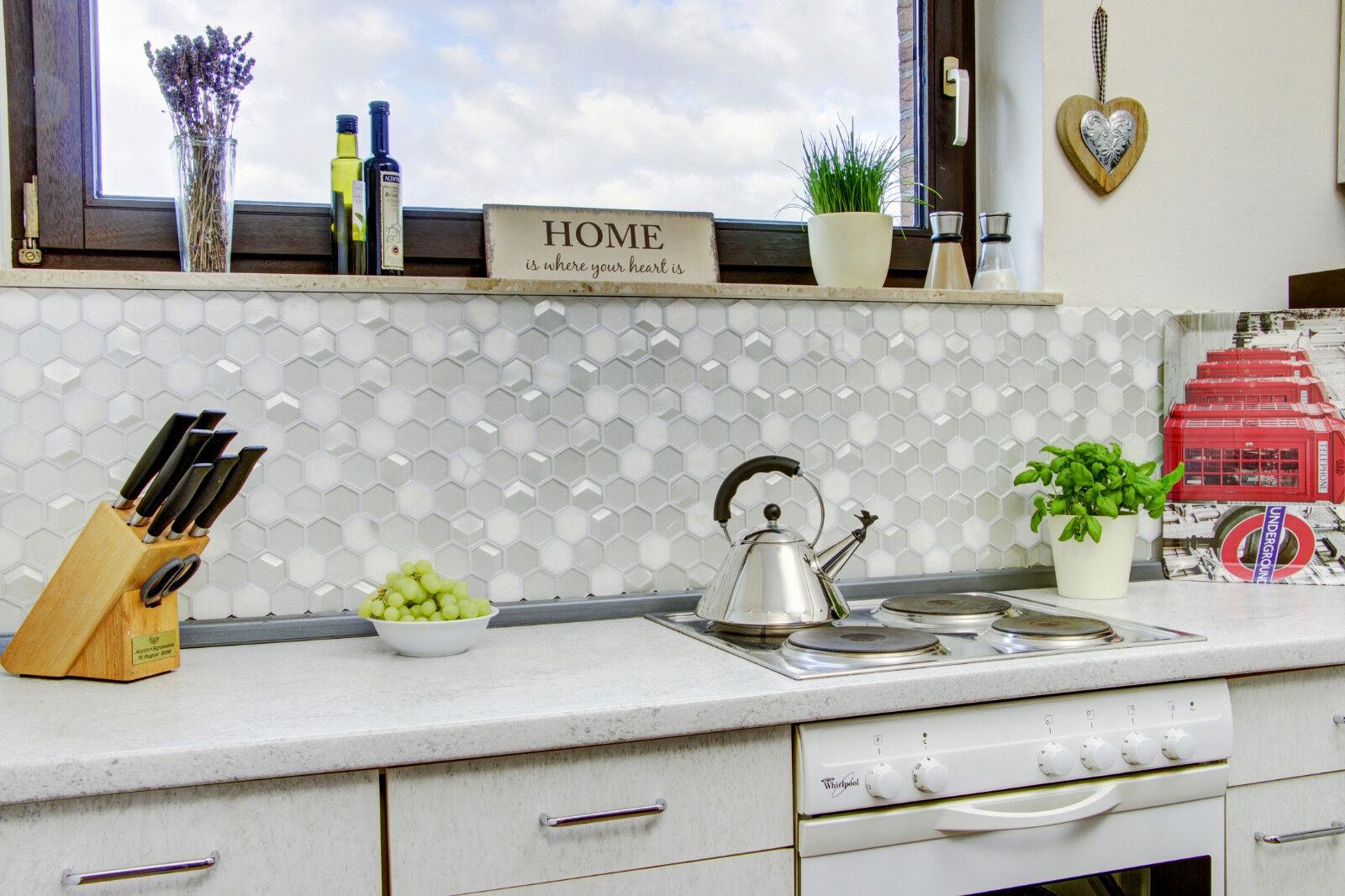Details zu Fliesenspiegel Mosaik Hexagon Glas Naturstein hellgrau weiß  Küche 17D 17D-HXN17