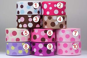 U-pick-1-034-25mm-Polka-Dots-Grosgrain-Ribbon-Craft-bow-5-Yards