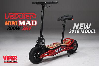 Velocifero Mini Mad, 2018 Model, 1000W 36V Electric Scooter, Lithium Battery. VS