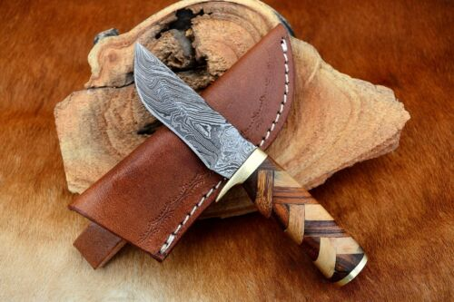 MH KNIVES CUSTOM HANDMADE DAMASCUS STEEL MIX WOOD HUNTING/SKINNER KNIFE MH-407
