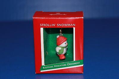 1989 Hallmark Miniature Christmas Ornament Strollin' Snowman