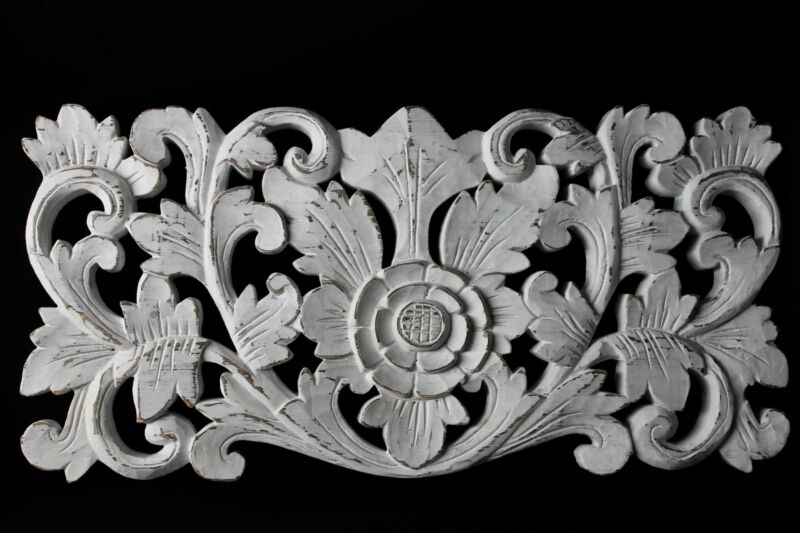Bali Lotus architectural Relief Panel hand carved Wood Whitewash Wall Decor Art