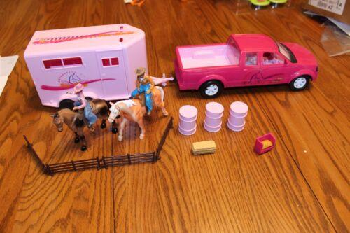 Popak horse rider  figures Truck Trailer lot like Breyer Stablemates pink fence