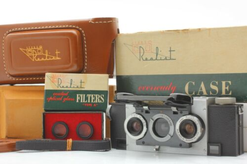 【MINT+++ in BOX】Divid White Stereo Realist Camera f/3.5 + Case + Filters JAPAN