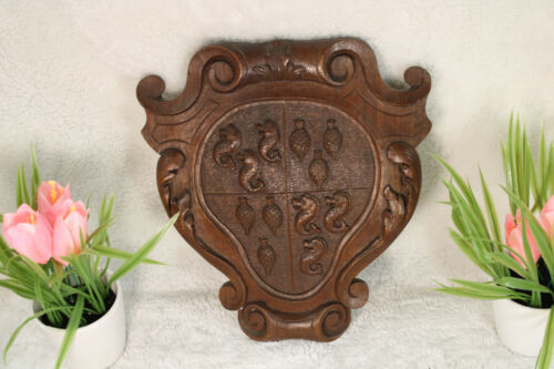 French wood carved escutcheon wall shield seahorse animals plaque