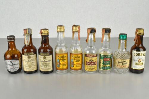 Lot of Nine EMPTY VTG 1960s Miniature Liquor Bottles Whisky Vodka w/ Tax Stamps