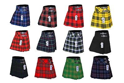 Ladies Womens 12 Tartan Pleated Billie Kilt Skirt Leather Buckled Straps