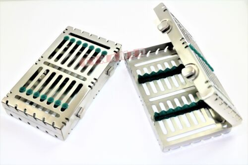 2 GERMAN DENTAL AUTOCLAVE STERILIZATION CASSETTE BOX TRAY FOR 7 INSTRUMENT-GREEN