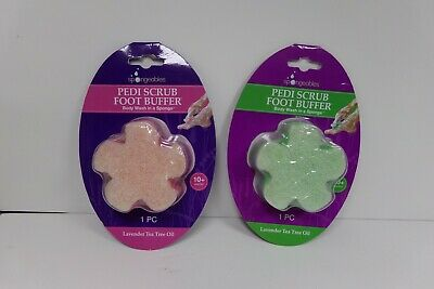 Spongeables Pedi Scrub Foot Buffer Sponge Lavender Tea Tree Oil 10+ Washes Lavender Foot Scrub