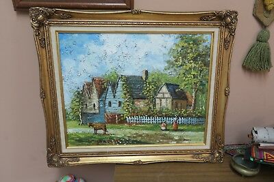 Painting Picket Fence - Vintage Signed  Framed Oil on Canvas Painting 16