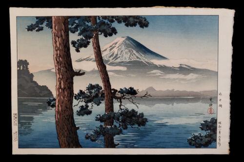VINTAGE JAPANESE WOODBLOCK PRINT TSUCHIYA KOITSU LAKE KAWAGUCHI MOUNT FUJI JAPAN