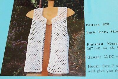 - Ann Norling Crochet Pattern Basic Crochet Vest Scalloped Edge 36-60