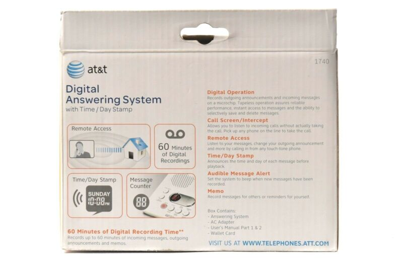 AT/&T ATT1740 Digital Answering System 60 Minute Recording Time White