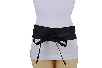 Women Wide Faux Leather Tie Wrap Aroung Kimono Sash Fashion Belt High Waist S M