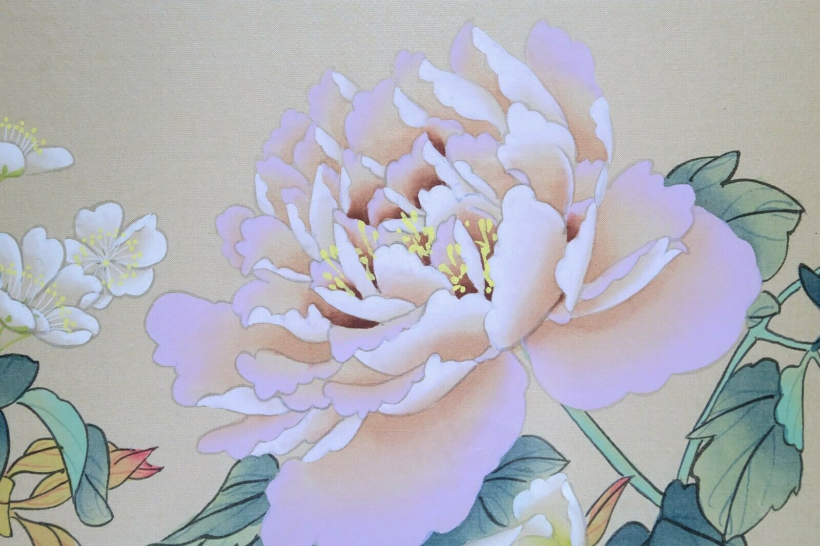 Vintage Oriental Watercolor Painting On Silk Paper, Blue Bird And Peony Flower  - $85.00