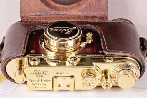 Camera Leica D.R.P. Vintage rangefinder Film Lens Leitz Elmar 50mm Gold