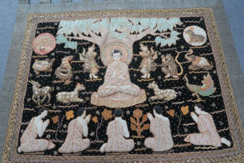 "Vintage Thai Burma Embroidery Kalaga Sequin Tapestry Pictorial Myanmar 54"" x 82"""