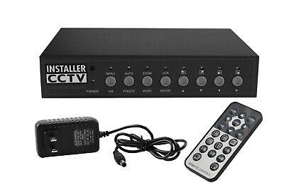 Video Quad Color 4CH Multiplexer 2 BNC Output w/ Remote Control &1Amp -