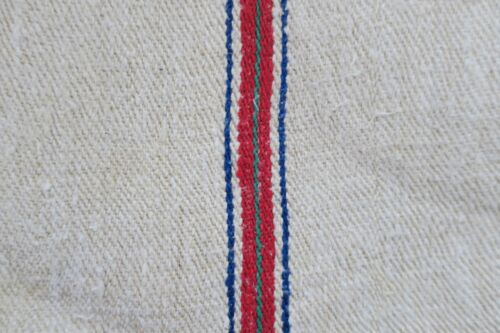 Antique European Hemp Grain Sack Beautiful Blue Red and Green Stripes